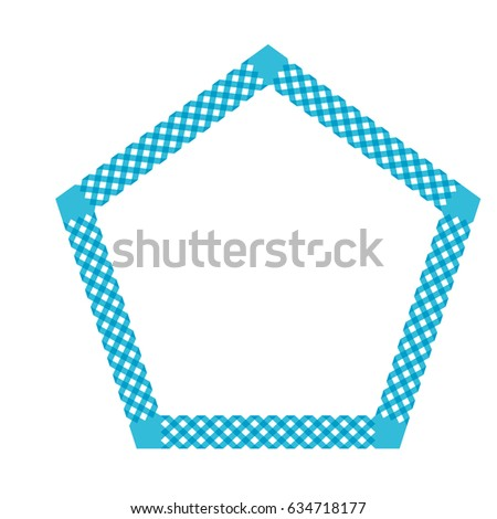 Interlaced ribbon frame with pentagonal shape
