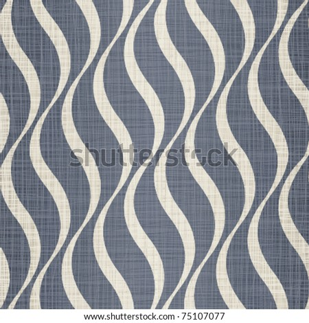 Interlacing darkly dark blue jeans fabric with drawing beige waves