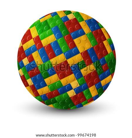 Interlock plastic pieces sphere against white background