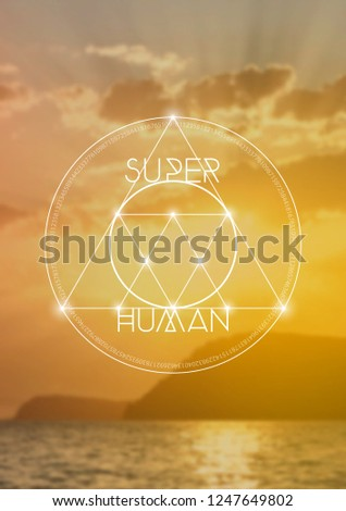 Interlocking circles and triangles hipster sacred geometry illustration with golden ratio digits and light dots in front of photographic background. Super Human Tshirt design.