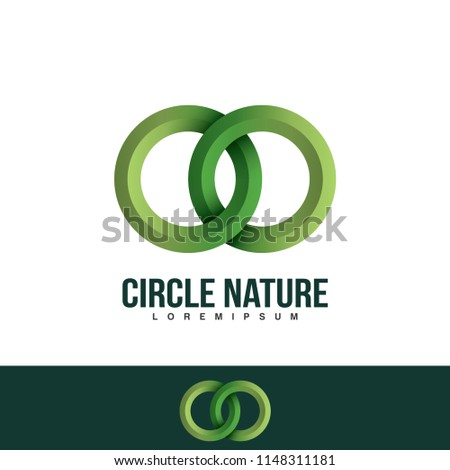 Interlocking circles logo, rings contour. Circles, rings concept icon