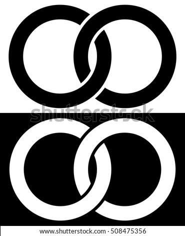 Interlocking circles, rings abstract icon. Connection concept icon