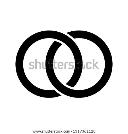 Interlocking circles, rings concept icon