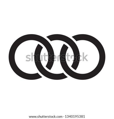 Interlocking circles, rings contour. Circles, rings concept icon