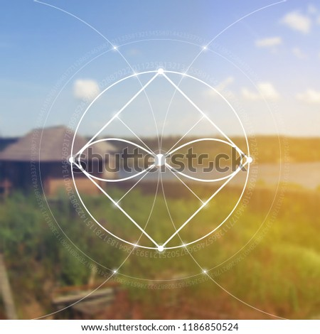 Interlocking circles,  squares and eternity sign hipster sacred geometry illustration with golden ratio digits and light dots in front of photographic background.