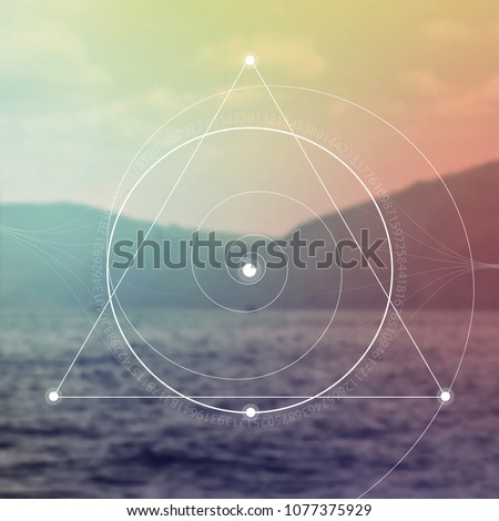 Interlocking circles, triangles and spirals hipster sacred geometry illustration with golden ratio digits in front of photographic background.