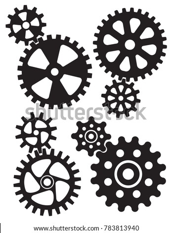 Interlocking gears and cogs design. Set of four different styles of gears or cogwheels with matching interlocking smaller gears.