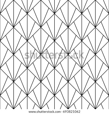 Interlocking triangles tessellation background. Image with repeated scallops. Fish scale. Seamless surface pattern design with scales. Modern japanese motif. Repeat scallop. Squama. Vector for print.