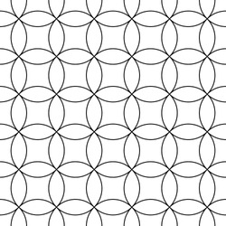 Interlocking white figures tessellation on black background. Image with oval and quadrangular shapes. Ethnic mosaic tiles motif. Seamless surface pattern design with interlocking circles ornament.