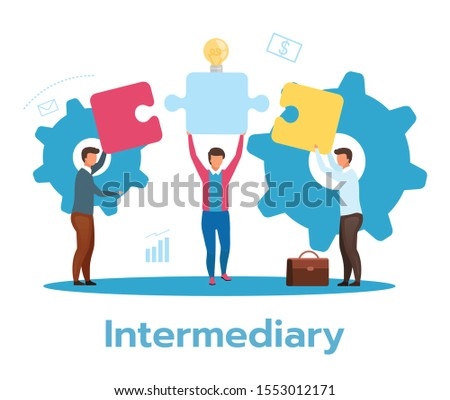Intermediary flat vector illustration. Social enterprise. Wholesaler, distributor, reseller. E-commerce. Business model. Isolated cartoon character on white background Photo stock ©