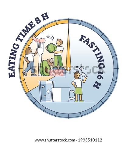 Intermittent fasting clock with eating time and food intake outline diagram. Diet for weight loss and sugar control vector illustration. Healthy slimming method with periodic and scheduled starvation. Stock photo ©