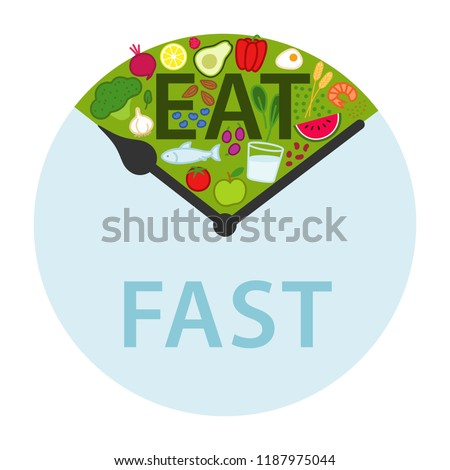 Intermittent fasting, time-restricted eating. Healthy foods between clock hands, daily eating window, fasting period, weight loss, isolated on white background