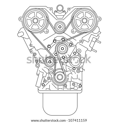 Internal combustion engine, as seen from in front. Vector illustration.