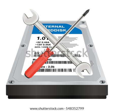 internal harddisk with a wrench and screwdriver repair logo Zdjęcia stock ©