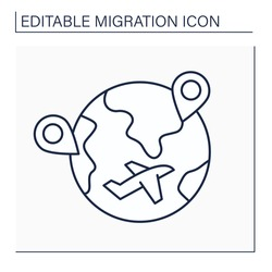 Internal migration line icon. Cross state boundaries and stay in non-native state during long time. Travel to different country. Migration concept. Isolated vector illustration. Editable stroke
