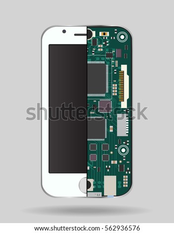 Internal phone device: circuit board, a microprocessor, a variety of chips and other electronic components. It can be used to illustrate the related repair and configuration of mobile devices.
