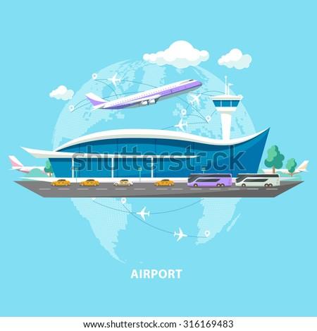 International airport. Flat design.