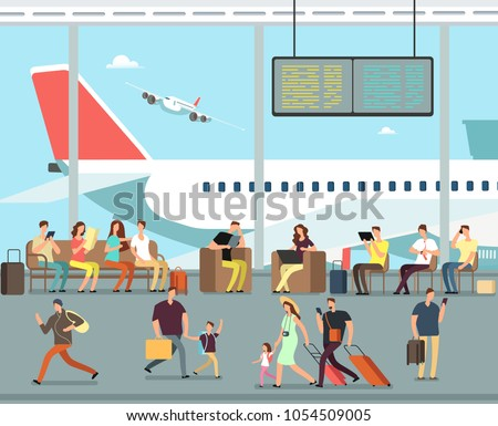 International airport terminal with sitting and walking people. Men and women, families with kids go on summer vacation vector concept. Family in airport, people woman and man with luggage