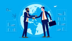 International business deal - Two men shaking hands in front of world map. Diversity, globalisation and collaborating concept. Vector illustration.