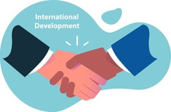 International business. Handshake between businessmen of different races, international cooperation. Flat illustration of Business cooperation and friendship of Peoples