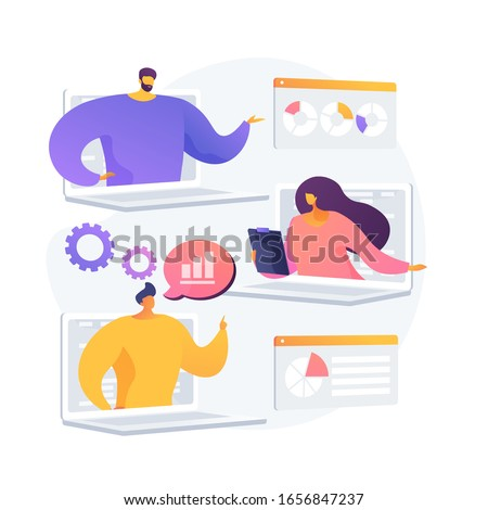 International business partners video conference. Web corporate meeting, webinar, online communication. Modern technologies, video chat. Vector isolated concept metaphor illustration.