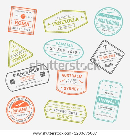 International business travel, immigration, visa passport airport stamps, arrivals signs, symbols. Set of variety rubber stamp city illustration - Vector