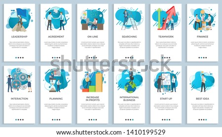 International business vector, startup businessman do presentation of board best idea and solution of project problems, teamwork and increase in profits. For business website or app slider flat style
