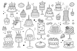 International Cake Day. Set of doodle cakes on a white background. It can be used for birthday or wedding cards and coloring pages.