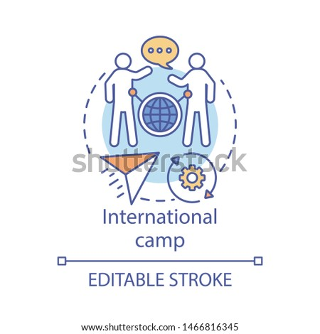 International camp concept icon. Meeting new people abroad, experiencing foreign cultures idea thin line illustration. Travelling around globe, world. Vector isolated outline drawing. Editable stroke