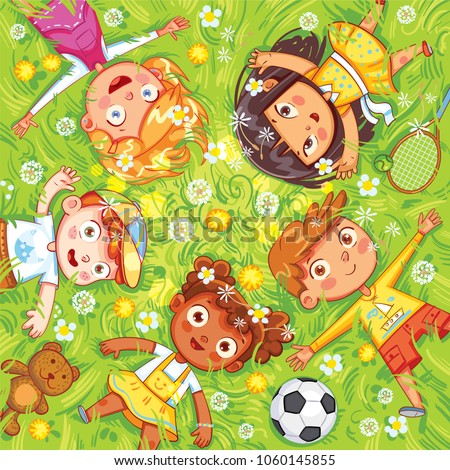 International Children\'s Day or Earth Day. Children lie on the meadow. Camera Angle downward. Funny cartoon character. Vector illustration