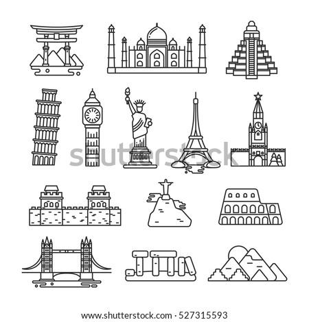 International country landmark vector line icons.