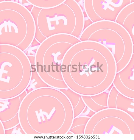 International currencies copper coins seamless pattern. Cool scattered pink Global coins. Success concept. World money pattern. Coin vector illustration.