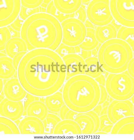 International currencies gold coins seamless pattern. Admirable scattered yellow Global coins. Success concept. World money pattern. Coin vector illustration.