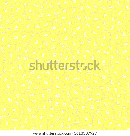 International currencies gold coins seamless pattern. Amusing scattered yellow Global coins. Success concept. World money pattern. Coin vector illustration.