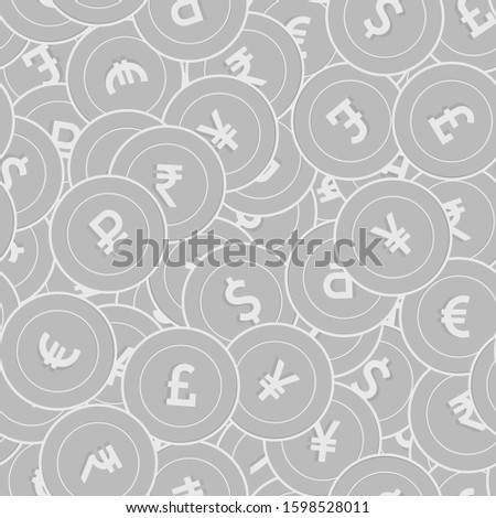International currencies silver coins seamless pattern. Posh scattered black and white Global coins. Success concept. World money pattern. Coin vector illustration.