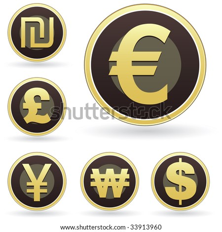 International currency symbol icon set on brown and gold round vector buttons.  Suitable for web, print, or promotional use.