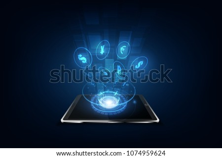 International currency transfer, payment via a smartphone using a smartphone Vector illustration of money concept