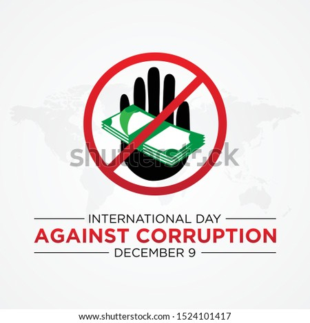 International Day Against Corruption with Stop Corruption symbol. Design International Day Against Corruption poster or banner vector background. Vector illustration EPS.8 EPS.10