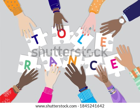International day for Tolerance 16 November vector banner. Diverse hands male, female together holding puzzle pieces with letters TOLERANCE. Top view table, multicultural,  multiracial people palms  Stock fotó ©