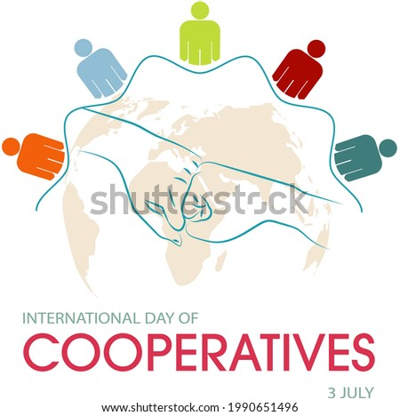 International day of cooperatives, current greeting with a closed hand on a world map, concept of unity, vector in blue and orange tones.