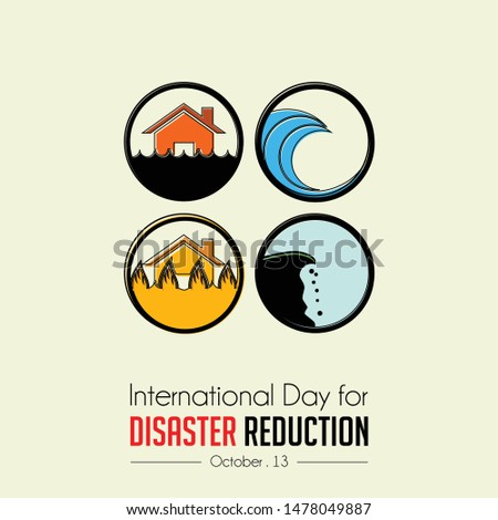 International Day of Disaster Reduction with Disaster (Flood, Fire, Avalanche, tsunami) Icon