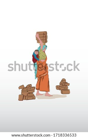 International Day of Families, family, Mother's Day, Labour Mother, Concept labour mother carrying bricks on head and baby on back,International Women's Day, Indian Women,