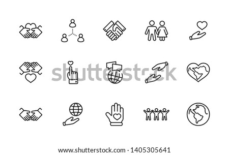 International Day of Human Solidarity Line Vector Free Icons Set. Contains such Icons as Handshake, Heart, planet Earth, helping Hand, People and more. Editable Stroke. 32x32 Pixel Perfect
