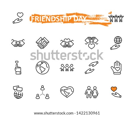 International Day of Human Solidarity Line Vector Icons Set. Contains such Icons as Handshake, Heart, planet Earth, helping Hand, People and more. Editable Stroke. 32x32 Pixel Perfect