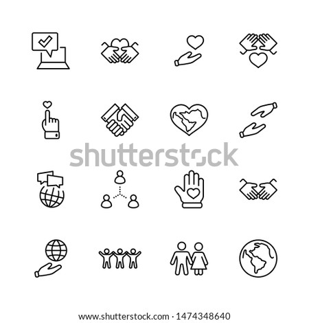 International Day of Human Solidarity Line Vector Icons Set. Contains such Icons as Handshake, Heart, planet Earth, helping Hand, People and more. Editable Stroke.