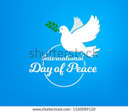International day of peace. Concept illustration with dove of Peace day. Olive branch. Vector blue background.