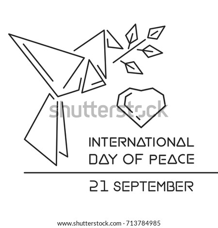 International Day of Peace known as World Peace Day. Line logo design. September 21. Paper origami dove with a sprig of peace. Vector illustration
