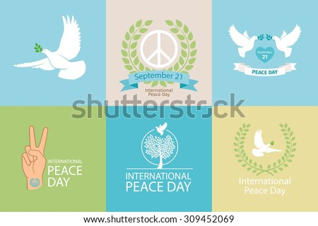 International Day of Peace Poster Templates with white dove and olive branch