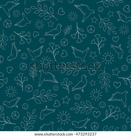 International day of peace seamless pattern background. Dove, Flower, Heart, Sun Vector Element Hand Draw Peace Pattern. Day of Peace Wallpaper. International day of peace pattern background.