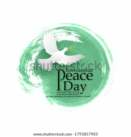 International Day of Peace vector illustration. Peace dove with olive branch for International Peace Day poster. Great for Greeting Card, Emblem and Banner